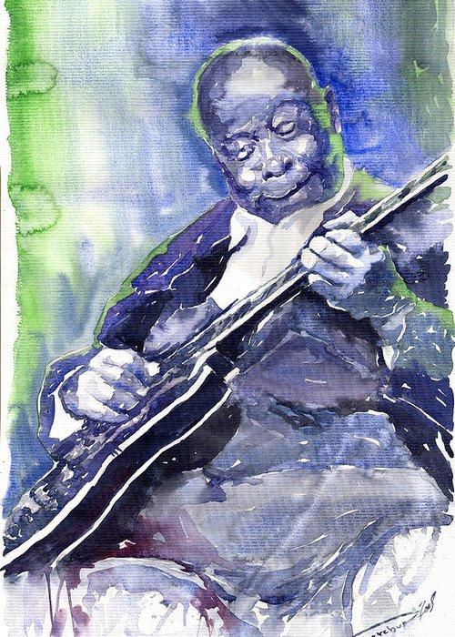 Jazz Greeting Card featuring the painting Jazz B B King 02 by Yuriy Shevchuk