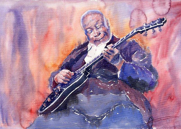 Jazz Greeting Card featuring the painting Jazz B.b. King 03 by Yuriy Shevchuk