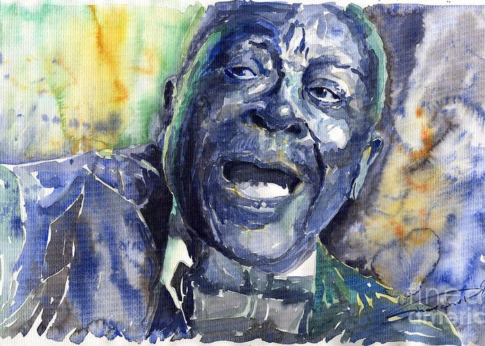 Jazz Greeting Card featuring the painting Jazz B.b.king 04 Blue by Yuriy Shevchuk