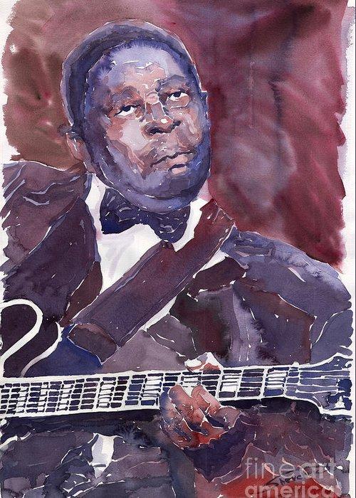 Jazz Bbking Guitarist Blues Portret Figurative Music Greeting Card featuring the painting Jazz B B King by Yuriy Shevchuk