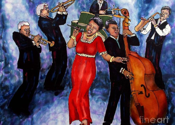 Jazz Greeting Card featuring the painting Jazz Band by Linda Marcille