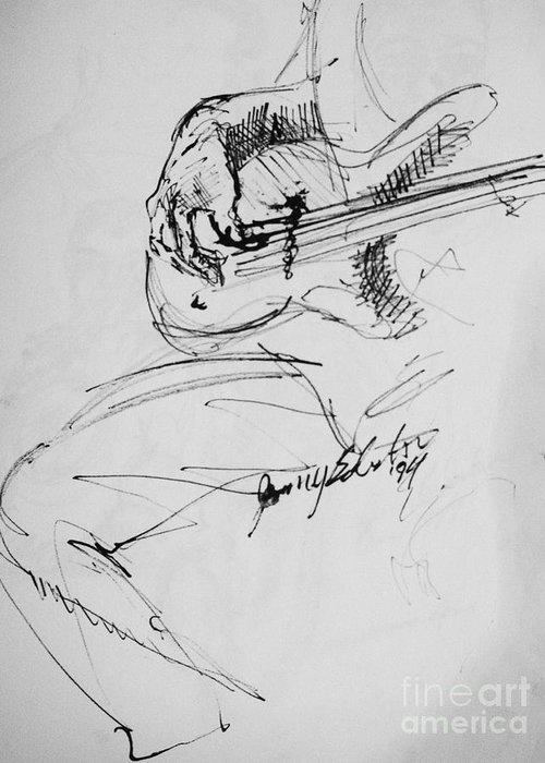 Jazz Bass Guitarist Drawing Greeting Card featuring the drawing Jazz Bass Guitarist by Jamey Balester