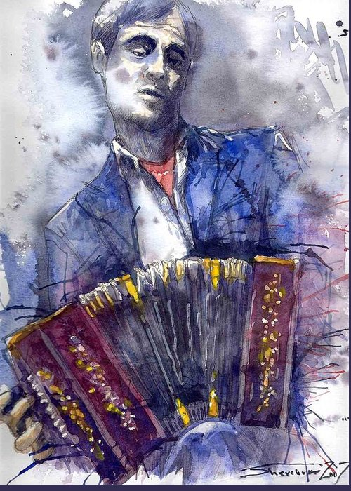 Jazz Greeting Card featuring the painting Jazz Concertina Player by Yuriy Shevchuk