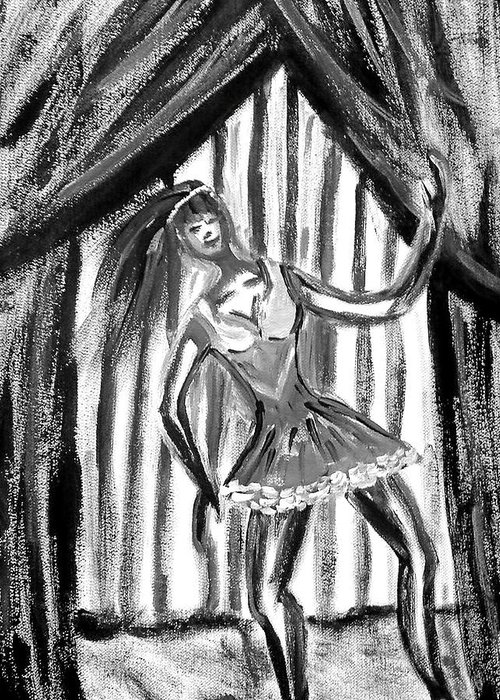 Dance Greeting Card featuring the painting Jazz Dancer In Black And White by BJ Abrams