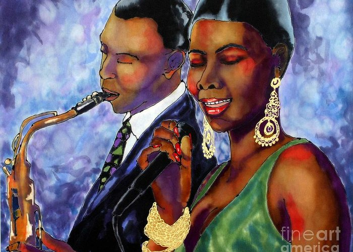 Silk Greeting Card featuring the painting Jazz Duet by Linda Marcille