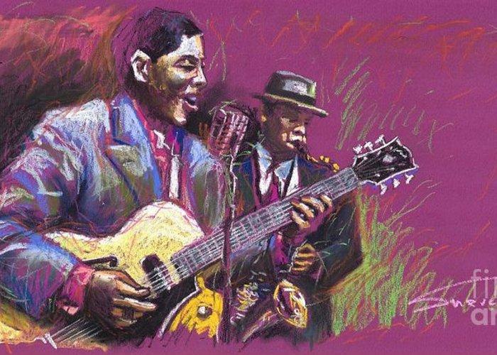 Jazz Greeting Card featuring the painting Jazz Guitarist Duet by Yuriy Shevchuk