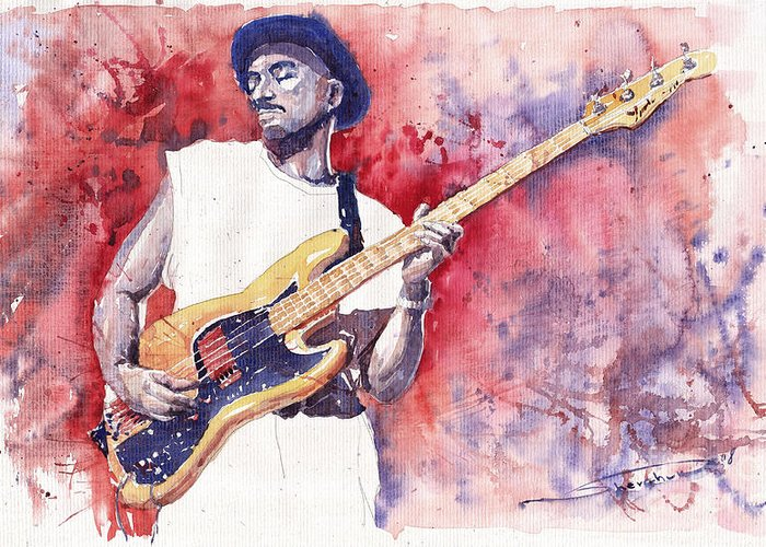 Jazz Greeting Card featuring the painting Jazz Guitarist Marcus Miller Red by Yuriy Shevchuk