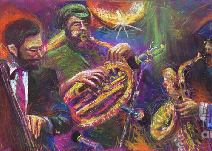 Jazz Greeting Card featuring the painting Jazz Jazzband Trio by Yuriy Shevchuk