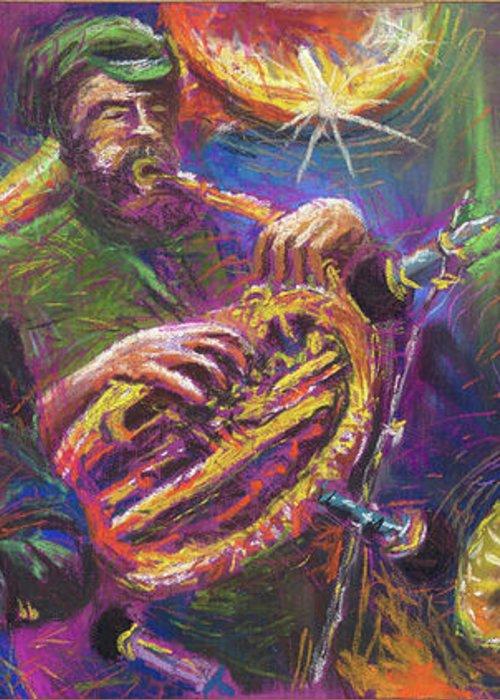 Jazz Greeting Card featuring the painting Jazz Jazzband Trio by Yuriy Shevchuk