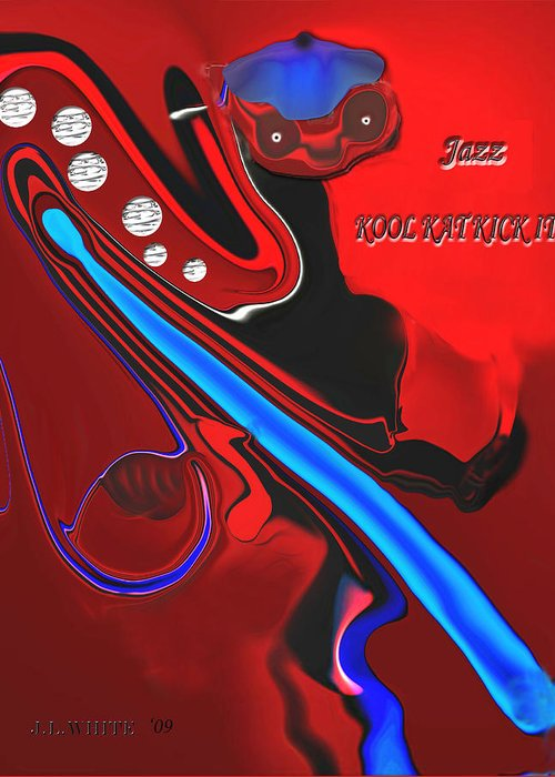 1960\ Greeting Card featuring the digital art Jazz Kool Kat Kick It by Jerry White