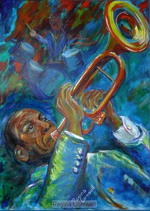 Jazz Greeting Card featuring the painting Jazz Man by Regina Walsh