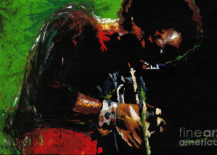 Jazz Greeting Card featuring the painting Jazz Miles Davis 1 by Yuriy Shevchuk