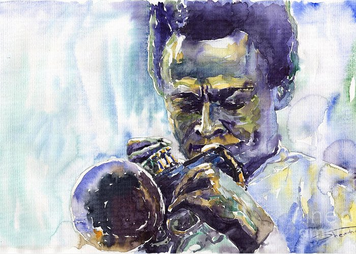 Jazz Miles Davis Music Musiciant Trumpeter Portret Greeting Card featuring the painting Jazz Miles Davis 10 by Yuriy Shevchuk