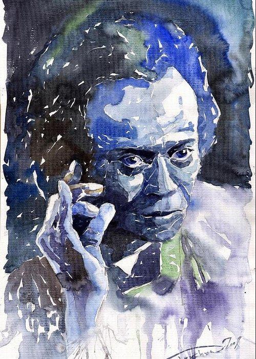 Jazz Greeting Card featuring the painting Jazz Miles Davis 11 Blue by Yuriy Shevchuk