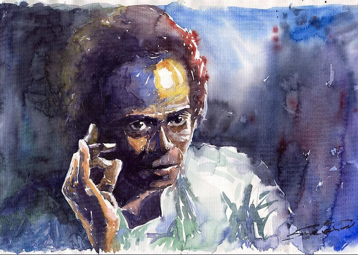 Jazz Watercolor Watercolour Miles Davis Portret Greeting Card featuring the painting Jazz Miles Davis 11 by Yuriy Shevchuk
