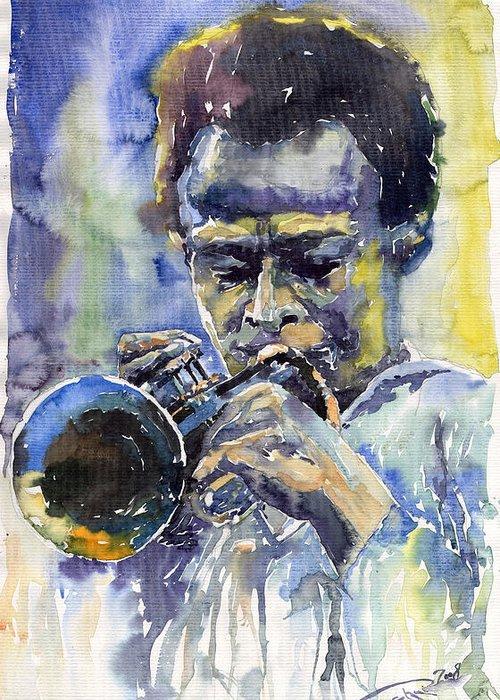 Jazz Greeting Card featuring the painting Jazz Miles Davis 12 by Yuriy Shevchuk