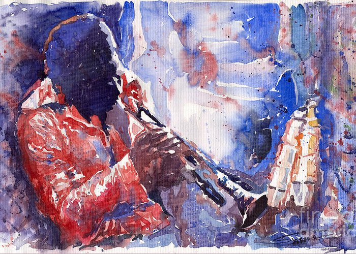 Jazz Greeting Card featuring the painting Jazz Miles Davis 15 by Yuriy Shevchuk