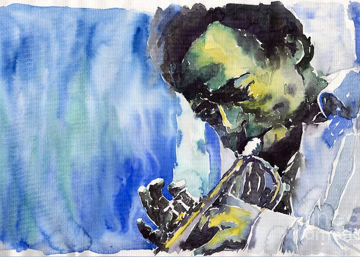 Greeting Card featuring the painting Jazz Miles Davis 5 by Yuriy Shevchuk