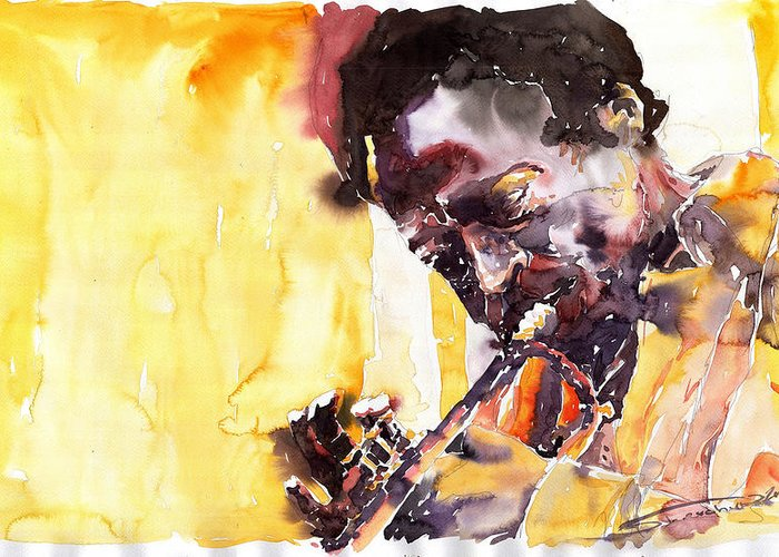 Jazz Music Watercolor Watercolour Miles Davis Trumpeter Portret Greeting Card featuring the painting Jazz Miles Davis 6 by Yuriy Shevchuk