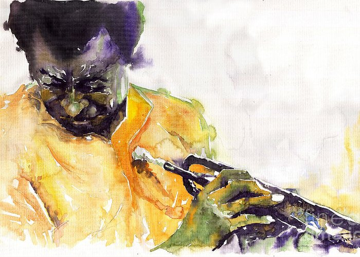 Davis Figurativ Jazz Miles Music Portret Trumpeter Watercolor Watercolour Greeting Card featuring the painting Jazz Miles Davis 7 by Yuriy Shevchuk