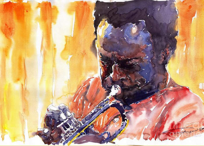 Jazz Miles Davis Music Watercolor Watercolour Figurativ Portret Trumpeter Greeting Card featuring the painting Jazz Miles Davis 8 by Yuriy Shevchuk