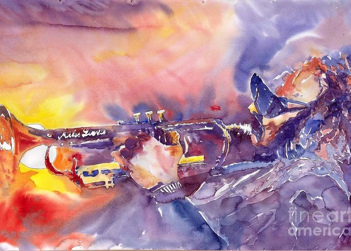 Jazz Watercolor Miles Davis Music Musician Trumpeter Figurative Watercolour Greeting Card featuring the painting Jazz Miles Davis Electric 1 by Yuriy Shevchuk