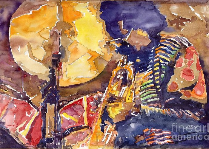 Miles Davis Figurative Jazz Miles Music Musiciant Trumpeter Watercolor Watercolour Greeting Card featuring the painting Jazz Miles Davis Electric 2 by Yuriy Shevchuk