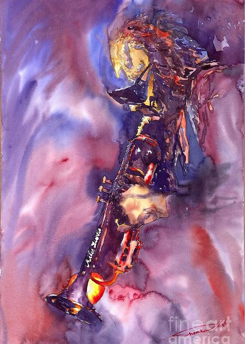Davis Figurative Jazz Miles Music Musiciant Trumpeter Watercolor Watercolour Greeting Card featuring the painting Jazz Miles Davis Electric 3 by Yuriy Shevchuk