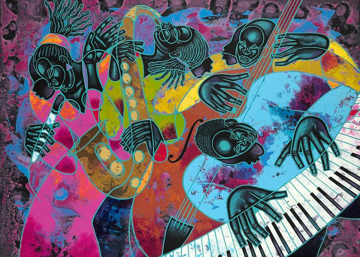 Figurative Greeting Card featuring the painting Jazz On Ogontz Ave. by Larry Poncho Brown