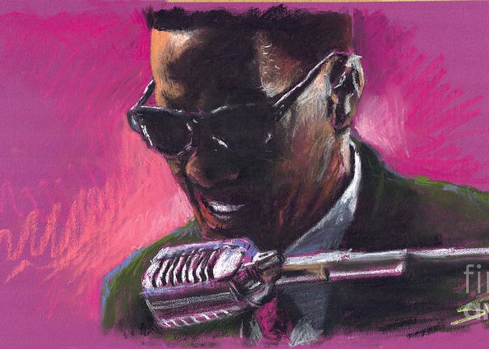 Jazz Greeting Card featuring the painting Jazz. Ray Charles.1. by Yuriy Shevchuk
