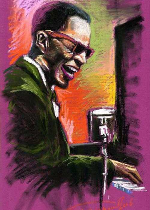 Greeting Card featuring the painting Jazz. Ray Charles.2. by Yuriy Shevchuk