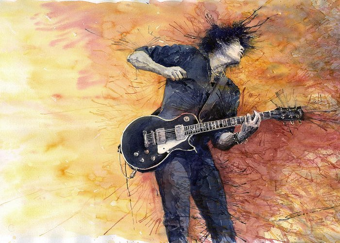 Figurativ Greeting Card featuring the painting Jazz Rock Guitarist Stone Temple Pilots by Yuriy Shevchuk