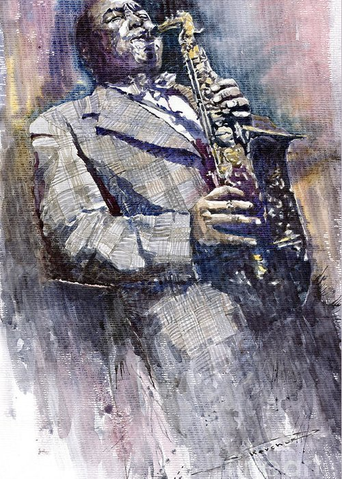 Watercolor Greeting Card featuring the painting Jazz Saxophonist Charlie Parker by Yuriy Shevchuk