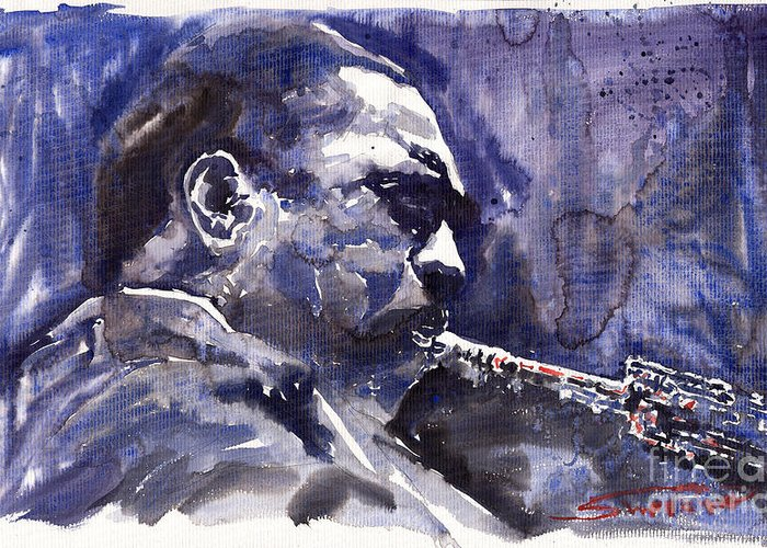 Jazz Greeting Card featuring the painting Jazz Saxophonist John Coltrane 01 by Yuriy Shevchuk