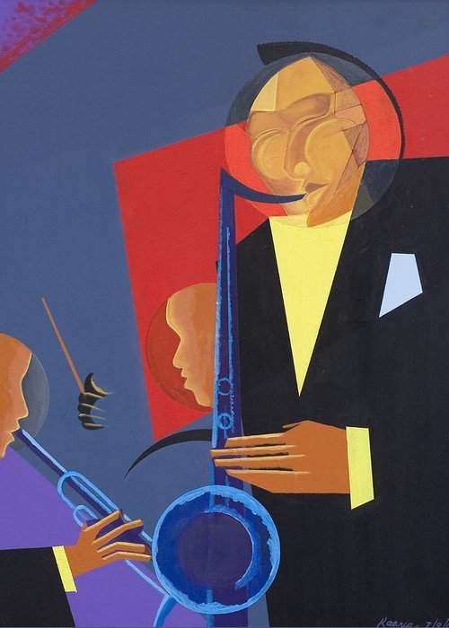 In A Groove Greeting Card featuring the painting Jazz Sharp by Kaaria Mucherera