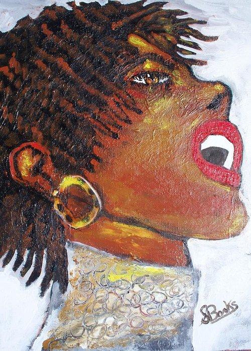 Jazz Singer Greeting Card featuring the painting Jazz Singer Jade by Samuel Banks