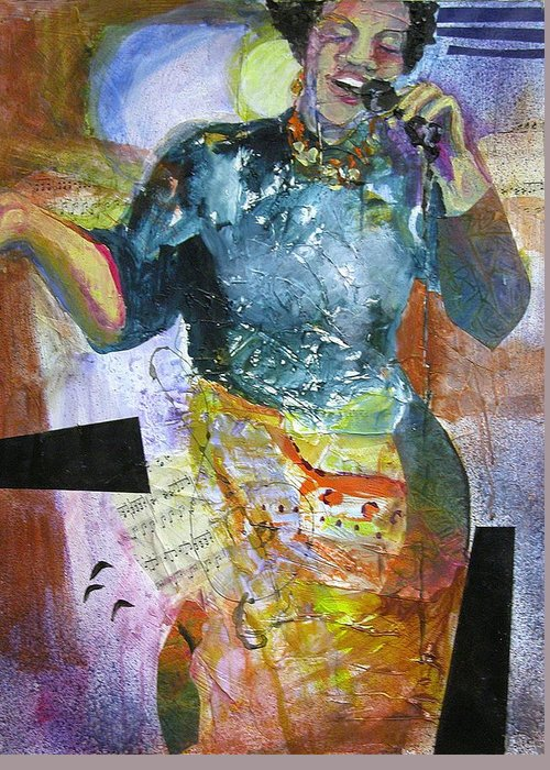 Jazz Greeting Card featuring the painting Jazz Singer by Tricia PoulosLeonard