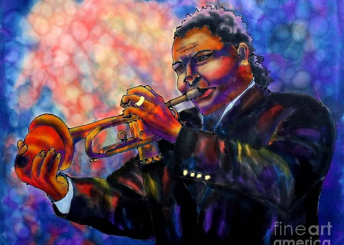 Trumpet Greeting Card featuring the painting Jazz Solo by Linda Marcille