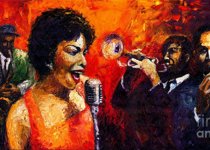 Jazz.song.trumpeter Greeting Card featuring the painting Jazz Song by Yuriy Shevchuk