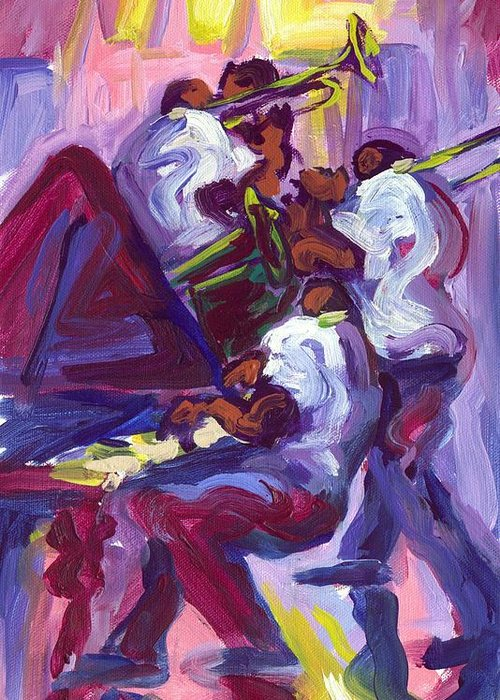 Trio Greeting Card featuring the painting Jazz Trio by Saundra Bolen Samuel