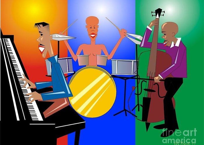 Jazz Greeting Card featuring the digital art Jazz Trio by Walter Oliver Neal