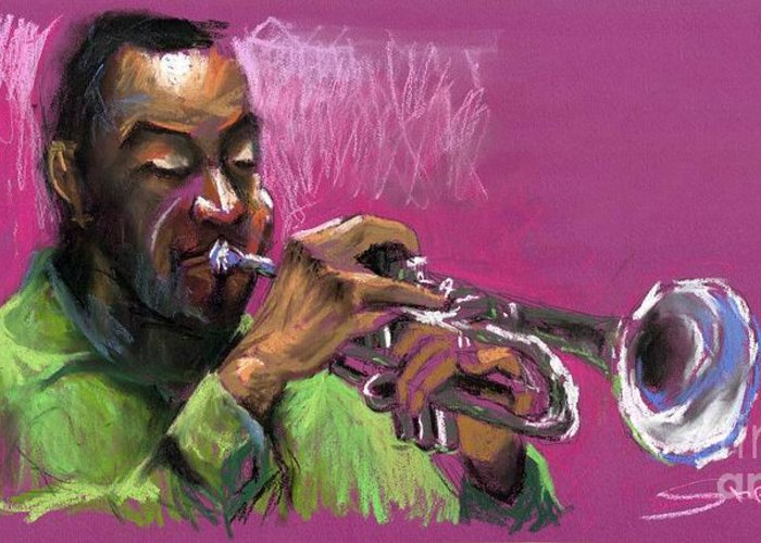 Jazz Greeting Card featuring the painting Jazz Trumpeter by Yuriy Shevchuk