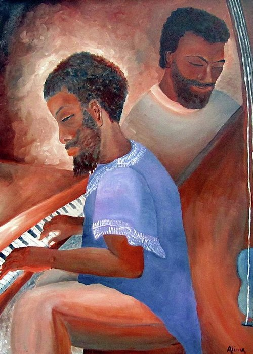 Portrait Greeting Card featuring the painting Jazzmen by Alima Newton