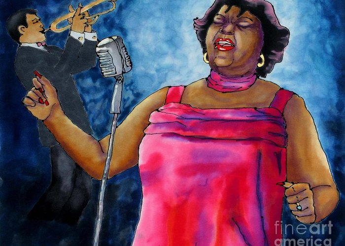 Jazz Greeting Card featuring the painting Jazzy Lady by Linda Marcille