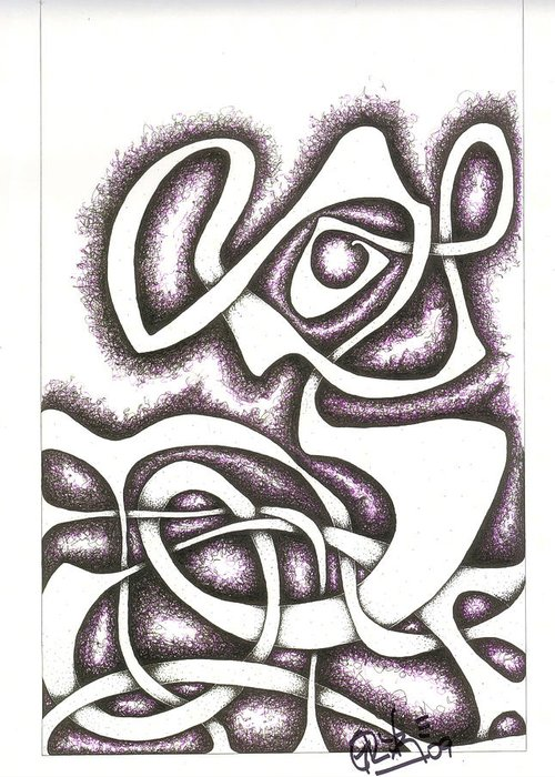 Mother And Child Greeting Card featuring the drawing Je Suis Triste Et Seul Ici by Geoffroy Dextraze
