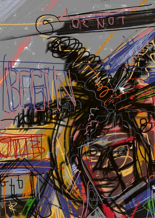 Portrait Greeting Card featuring the mixed media Jean Michel Basquiat by Russell Pierce