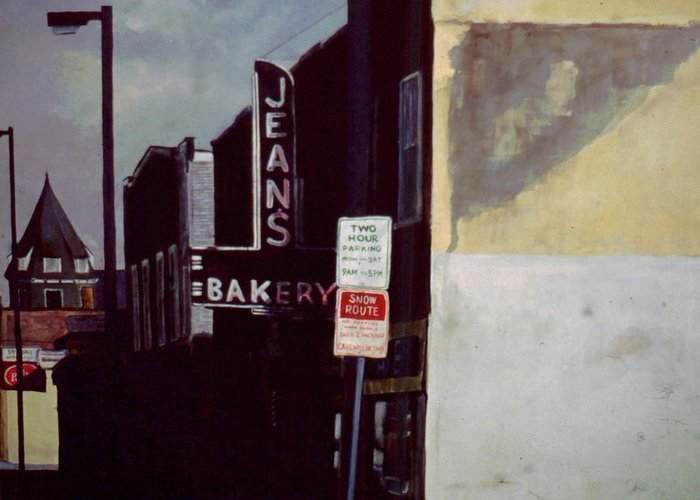 Landscape Greeting Card featuring the painting Jean's Bakery by William Brody