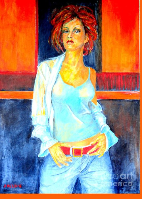 Oilpainting Greeting Card featuring the painting Jeans by Dagmar Helbig