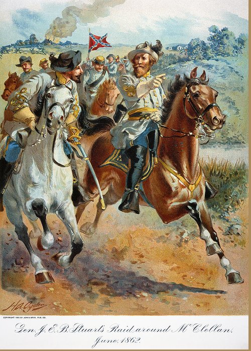 1862 Greeting Card featuring the photograph Jeb Stuarts Cavalry 1862 by Granger