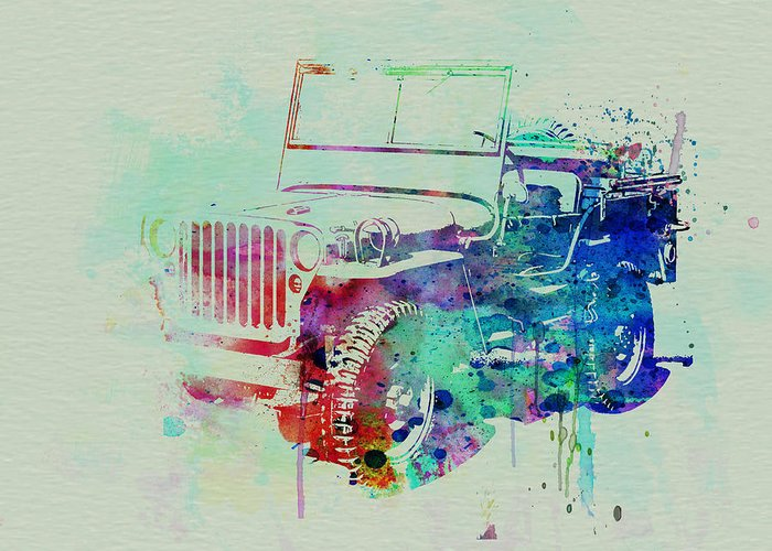 Willis Greeting Card featuring the painting Jeep Willis by Naxart Studio